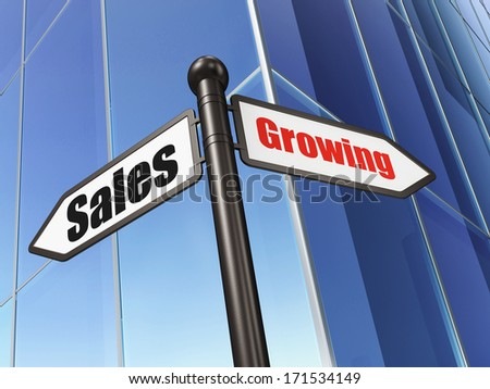 Business concept: sign Growing Sales on Building background, 3d render - stock photo