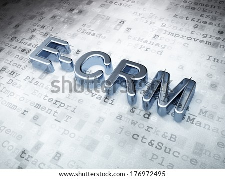 Business concept: Silver E-CRM on digital background, 3d render