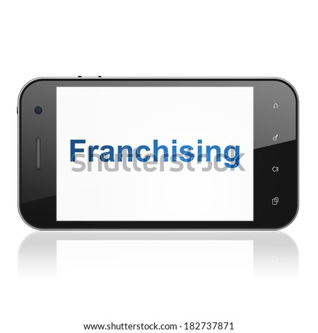 Business concept: smartphone with text Franchising on display. Mobile smart phone on White background, cell phone 3d render - stock photo