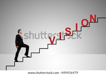 Business Concept. Stairs to vision. - stock photo