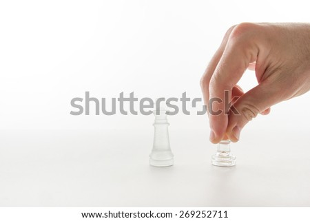 Business concept strategy, leadership, team and success. Businessman playing chess game selective focus. Checkmate - stock photo