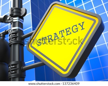 Business Concept. Strategy Waymark on Blue Background. - stock photo