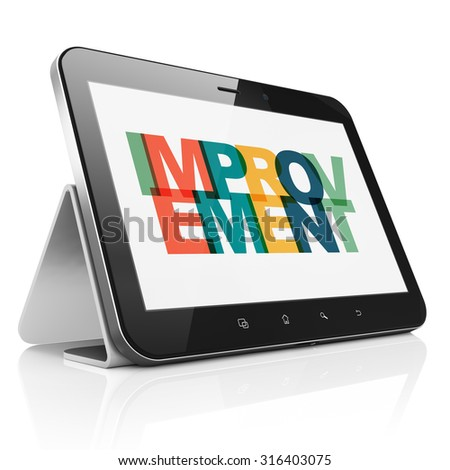Business concept: Tablet Computer with Painted multicolor text Improvement on display