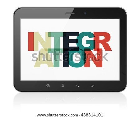 Business concept: Tablet Computer with Painted multicolor text Integration on display, 3D rendering - stock photo