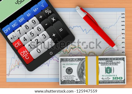Business Concept. Tablet PC with calculator, money and business chart on a wooden table - stock photo