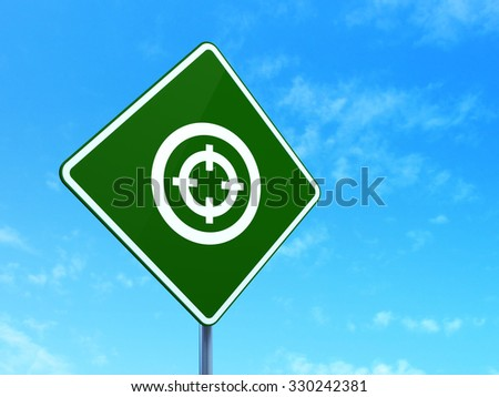 Business concept: Target on green road (highway) sign, clear blue sky background, 3d render - stock photo