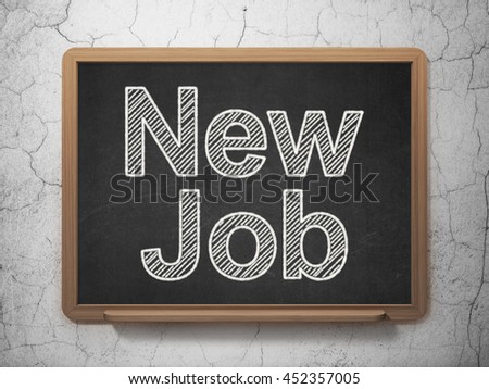 Business concept: text New Job on Black chalkboard on grunge wall background, 3D rendering - stock photo