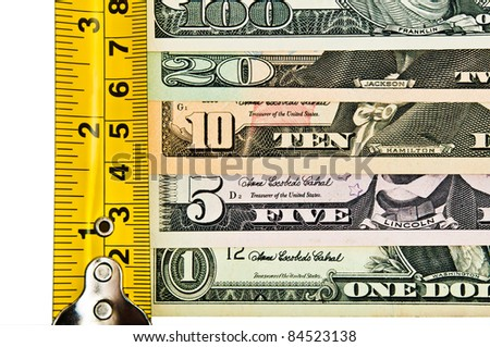 Business concept: the growth rate of dollars, growth the size of income, etc. - stock photo
