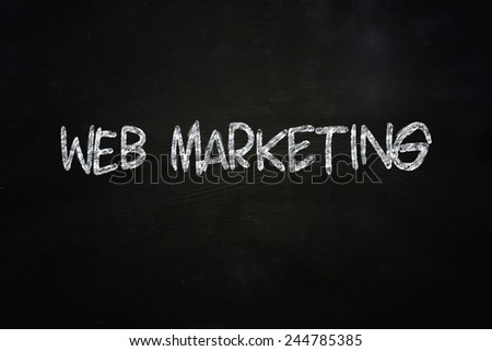 Business concept the words Web Marketing written with chalk on blackboard