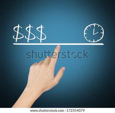 business concept, time and money balance on fingertip - stock photo