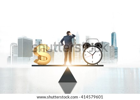 Business concept, time is money. Businessman on scale making decisions between money and clock with New York city in the background - stock photo
