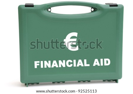 Business concept to illustrate a euro financial rescue package, using a first aid box. - stock photo