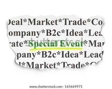 Business concept: torn newspaper with words Special Event on Paper background, 3d render