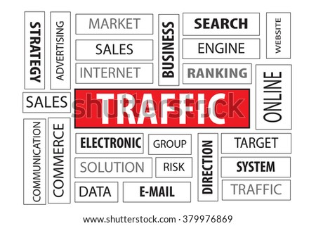 Business Concept: Traffic word cloud on white background - stock photo
