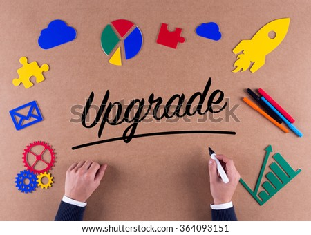 Business Concept-Upgrade word with colorful icons