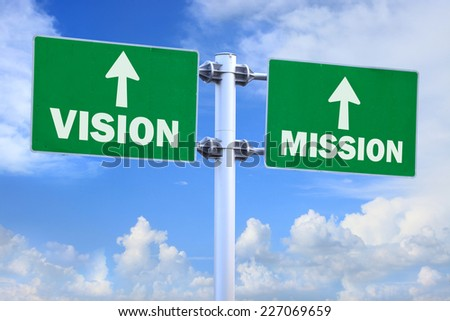 Business concept - vision and mission virtual screens on green road sign with blue sky background.
