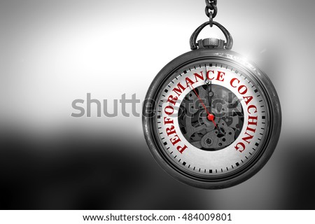 Business Concept: Watch with Performance Coaching - Red Text on it Face. Pocket Watch with Performance Coaching Text on the Face. 3D Rendering.