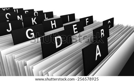 Business concept with a close-up view 3d rendering of a office customers directory archive with alphabet letters. - stock photo