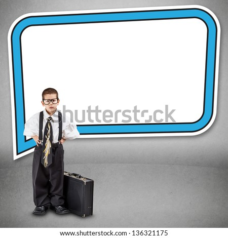 Business concept with business boy and communication board - stock photo