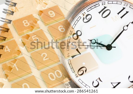 Business concept with calculator, pocket watch and compass - stock photo