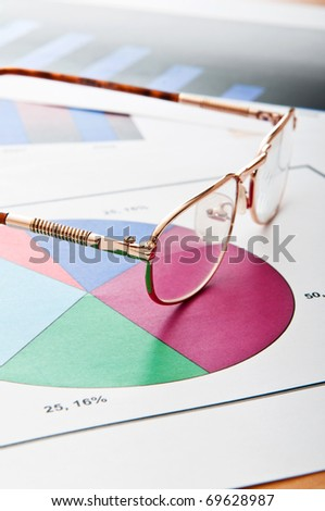 Business concept with charts - stock photo