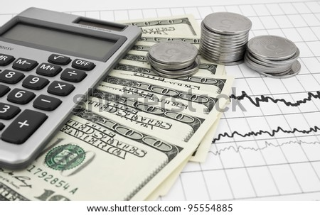 Business concept with graph, coins, dollars and calculator