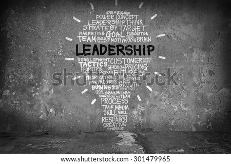 Business concept with leadership words drawing a light bulb - stock photo