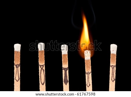 Business concept with matches. Fired from the job or bright idea. - stock photo