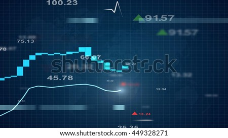 business concept with number graph and map for background