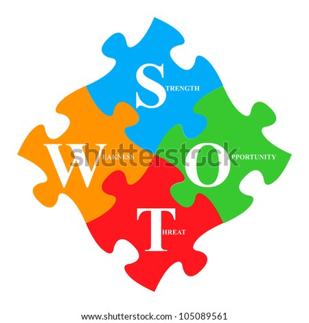 Business Concept With The Colorful SWOT Puzzle Isolated On White Background - stock photo