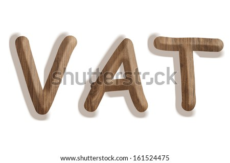 Business concept:  wooden word VAT on white background - stock photo