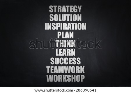 Business concept words on blackboard. - stock photo