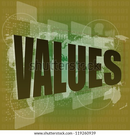 Business concept: words values on digital screen, raster - stock photo