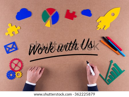 Business Concept-Work With Us phrase with colorful icons - stock photo