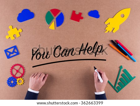 Business Concept-You Can Help word with colorful icons - stock photo