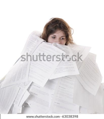 business concept:young woman drowning in papers on white background - stock photo