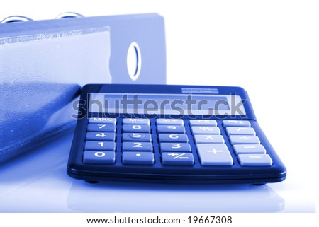 business concepts clip folders and calculator - stock photo