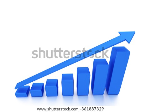 Business concepts. 3d diagram with the growing progress with blank space - stock photo