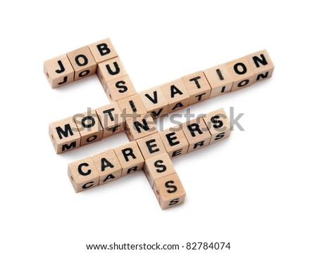 Business concepts in crossword/scrabble. Featured words are: Job, Business, Motivation, Careers. Isolated with Clipping Path - stock photo