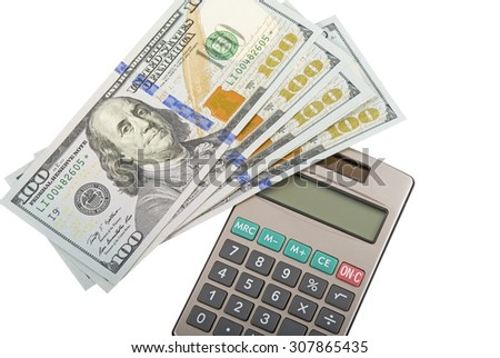 business concepts. money with calculator on a white background   - stock photo