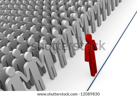 Business concepts, step up to the line 3d Illustration - stock photo