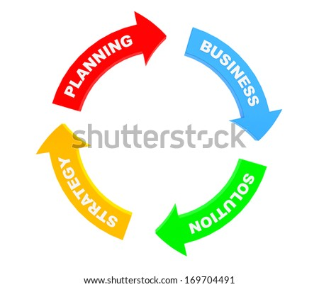 Business conceptual arrows on a white background - stock photo
