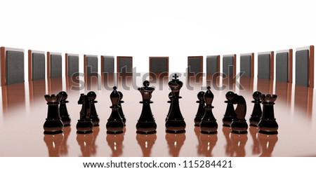 Business conference table with chess game - stock photo