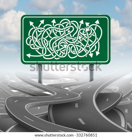 Business confused choice concept and bureaucracy symbol as a group of roads tangled with a green highway sign with mixed direction arrows. - stock photo