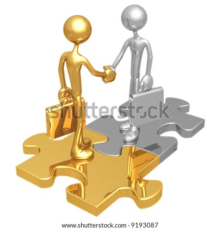Business Connection Puzzle - stock photo