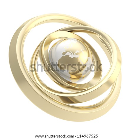 Business connections around the world: Earth globe golden emblem icon inside shiny metal ring torus hoops isolated on white background - stock photo