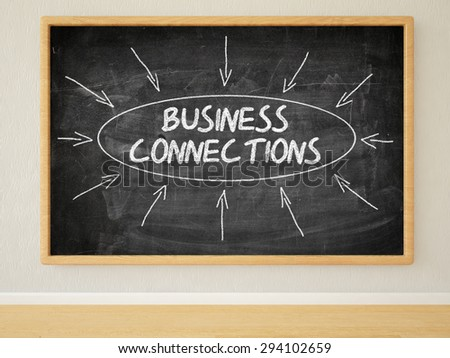Business Connections - 3d render illustration of text on black chalkboard in a room. - stock photo