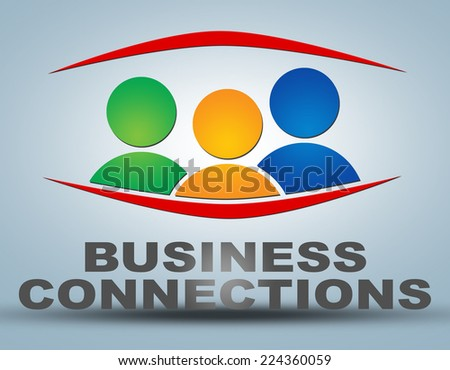 Business Connections illustration concept on grey background with group of people icons - stock photo
