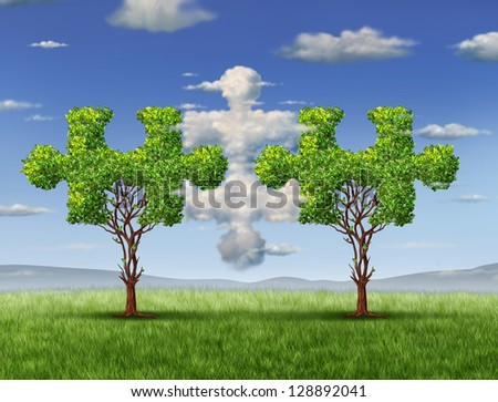 Business connections with the cloud as a network technology and business concept as  in the shape of a puzzle pieces and trees shaped as jigsaw game objects coming together as a group partnership. - stock photo