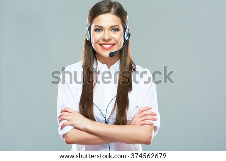 Business consultant, call center operator. Young woman with long hair isolated portrait.